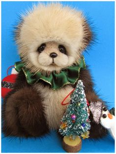 Merry a recycled mink bear by Blue Valley Bears.