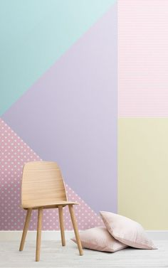 Decorate your home in this refreshingly zingy collection inspired by ice cream colours from the catwalks pastel summer trend. MuralsWallpaper designers have taken this trend and created a collection of both fun and. Pastell Wallpaper, Geometric Wallpaper, Pastel Walls, Pastel Room, Pastel Decor, Baby Room Decor, Bedroom Decor, Bedroom Murals, Room Paint