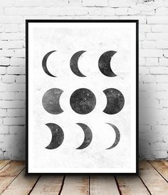 moon phase print, black and white, Lunar phases art, elegant art, Home decor, astrology print, moon poster, watercolor print, geometric art, by Wallzilla on Etsy https://www.etsy.com/listing/238315434/moon-phase-print-black-and-white-lunar