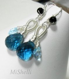 SALE Blue Quartz Aquamarine Gemstone Sterling Earrings see shop announcement for discount details