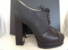 FALL 2014/15 CHANEL CC LOGO BLACK LEATHER CAPTOE ANKLE LACE-UP BOOTIES — Miami Lux Boutique Black Lace Up Boots, Lace Up Booties, Black Booties, Ankle Booties, Thick Heels, Chunky Heels, Chunky Heel Platform Boots, Chanel Boots, Black Leather
