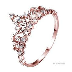 Dainty Rose Gold-plated Sterling Silver Princess Crown Ring More
