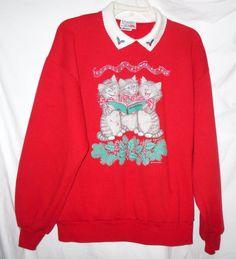 Vintage US made  Christmas Sweat Shirt Cat Kittens Singing Top Retro #MorningSun #SweatshirtCrew