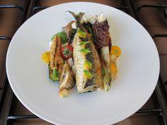JHS   / Maquereau et son œuf rôti avec des légumes grillés et sauce verte d'herbes Gino D'Aquino