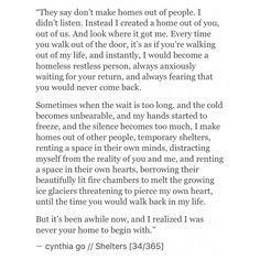 instagram @cynthiatingo  Shelters [34/365] - cynthia go, quotes, excerpt from a book i'll never write, words, prose, poetry, prose poem, quotes on love, heartbreak, home, creative writing, writing