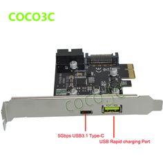 5Gb/s USB 3.1 Type-A + USB Rapid Changing Port +19pin USB header PCI-e Card Desktop PCI Express to USB3.1 Adapter