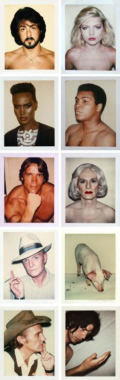 andy warhol polaroids  Sylvester Stallone, Debbie Harry, Grace Jones, Muhammad Ali, Arnold Schwarzenegger, Andy Warhol, Truman Capote, Pig, Dennis Hopper & Mick Jagger.