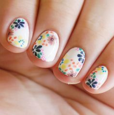 20 Flower Nail Art Design Ideas Easy Floral Manicures for Spring and Summer Spring Flower Nail Art Designs, Ideas, Trends Stickers Diy Nails, Cute Nails, Manicure, Flower Nail Designs, Nail Art Designs, Dotting Tool Designs, Spring Nails, Summer Nails, Essie