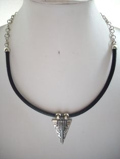 5mm Round Black Leather and Silver Chain by DesignsbyPattiLynn