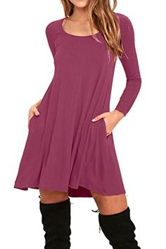 AUSELILY Women's Pockets Casual Swing T-shirt Dresses #news #fashion #giveaway #win #free #shop #gift #love