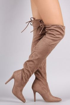 2be6a6b810c Suede Fitted Pointy Toe OTK Stiletto Boots Cool Boots