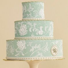 A Painted and Monogrammed Wedding Cake