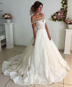 Affordable Lace Unique Wedding Dress,Off the Shoulder Online Charming Long Wedding Dresses,Elegant Tulle Wedding Dresses, Wedding Dresses,GY67