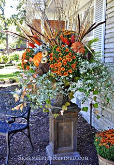 Serendipity Refined: Gold and Orange Fall Pumpkin Urn Planter,  Fall Decorating