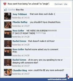 F-R-I-E-N-D-S Facebook status.