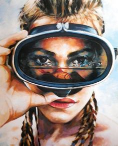 Buy Prints of Scuba Gal, a Oil on Canvas by Thomas Saliot from France. It portrays: Women, relevant to: scuba, closeup, hey, summervibes, mask Objects in the mask are much closer than they appear.