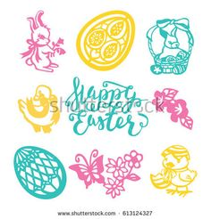 A vector illustration of 9 assorted easter theme vintage paper cut designs like happy easter phrase, easter eggs, easter animals, flowers and other spring theme filigree.