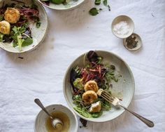 crispy goat cheese rounds | two red bowls
