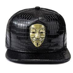 e6bae0fc3cd63 High Quality Fashion New America Drama V For Vendetta Men Women Hip Hop Hat  Baseball Full Caps Pu Leather Casual Snapback Rapper. GorrasUñas AzulesV De  ...