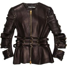 Pre-owned Tom Ford Leather Jacket ($2,395) ❤ liked on Polyvore featuring outerwear, jackets, black, black jacket, zip jacket, genuine leather jacket, black leather jacket and zipper leather jacket