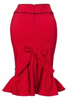 Bunny - Momo pencil skirt Red Black polka dot frill bow