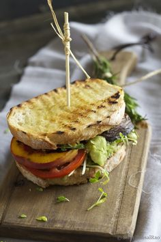 Grilled Portobello and Peach Sandwich - Vegetarian & Vegan Recipes > http://veggiefocus.com/blog