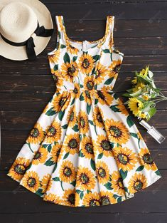 Sunflower Print High Waist Flare Dress - Floral M Dresses For Sale, Cute Dresses, Casual Dresses, Summer Dresses, Maxi Dresses, Sunflower Dress, Sunflower Print, Sunflower Clothing, Stylish Outfits
