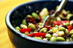 Corn, edamame and black bean salad