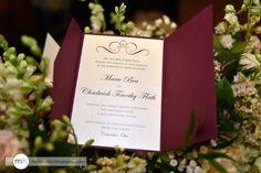 Pocketfold Wedding Invitations in Burgundy and Cream.