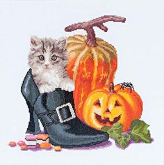 Borduurpakket van Thea Gouverneur uit de nieuwe zomercollectie: Halloween Kitten
