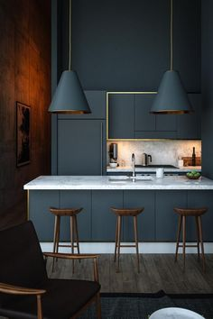 40 Gorgeous Grey Kitchens Often used in bedroom design, the soft appeal of grey can cool many interiors. Yet one secret power remains – its subtle transformation of kitchens. Often left Contemporary Kitchen Cabinets, Modern Kitchen Design, Interior Design Kitchen, Contemporary Kitchens, Contemporary Bedroom, Modern Interior, Modern Contemporary, Monochrome Interior, Coastal Interior