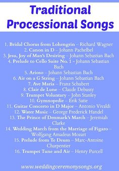 Music To Walk Down The Aisle Wedding Processional Songs