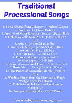 Traditional Wedding Processional Songs. #weddingmusic
