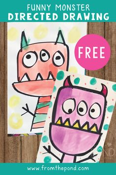 Everyone loves a funny monster! Draw and paint these whimsical cuties today - perfect for Halloween! Classroom Art Projects, School Art Projects, Art Classroom, Halloween Art Projects, Grade 1 Art, First Grade Art, Monster Drawing, Monster Art, Love Monster