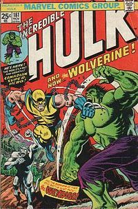 Wolverine made his debut in The Incredible Hulk #181 (November 1974).  Art by Herb Trimpe.