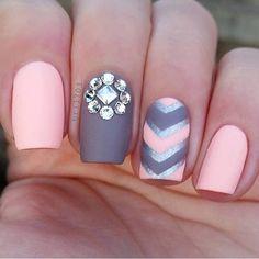 Pastel Barbie Pink and Grey Nail Art