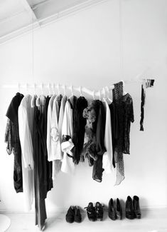 Wardrobe Rod.   Suspending clothes, just short of an AMAZING IDEA.