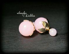 Rosa Perlen Doppel-Perlen Ohrstecker von byschmuckesLaedchen
