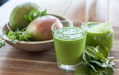 Mint and fresh lime juice are the surprise ingredients in this incredibly refreshing morning smoothie, made with mango and spinach.