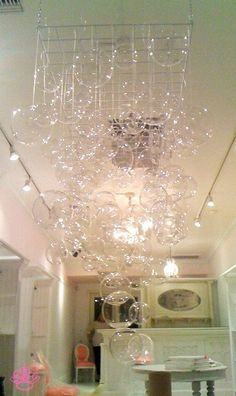 Sparkly bubble chandelier using a white wire grid and CB2's glass bubble balls