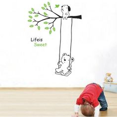 Bear swinging under the branch with the doggy Wall Sticker
