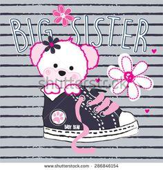 cute teddy bear girl big sister, T-shirt design vector illustration Cute Bear, Cute Teddy Bears, Cute Vector, T Shirt Design Vector, Bear Girl, Design Girl, Cartoon Design, En Stock, Shirts For Girls