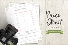 Photography Price Sheet Template PSD by Studio29 on Creative Market