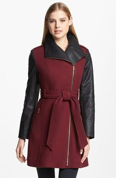 GUESS Asymmetrical Textured Wool Blend  Darling two tone with the leather look and and the beautiful burgundy that is all the rage