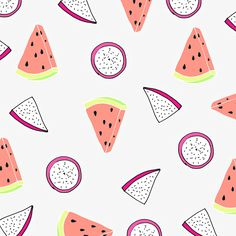 #watermelon #dragonfruit #pink #grey #funny #fruits #pattern #illustration #neon watermelon & dragonfruit / by Taki Trik