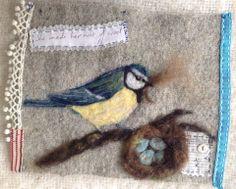/Lou-Tonkin-Art-Graft Bird Crafts, Felt Crafts, Felt Fabric, Felt Art, Bird Art, Bird Feathers, Needle Felting, Lana, Upcycle