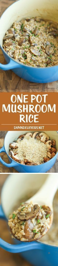 One Pot Mushroom Rice - Easy peasy mushroom rice made in one pot. Really! Even the rice gets cooked right in! It's so creamy and packed with so much flavor!