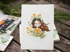 Original watercolor painting daffodil plant girl by WarmSquirrel Watercolor Plants, Watercolor Paintings, Daffodils Planting, Spring Flowers, Watercolors, Traditional, Illustration, Art, Daffodils