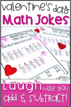 Valentines Day math activity elementary addition and subtraction worksheets. Fun math mystery jokes to build fact fluency for first or second grade. Valentines Day Jokes, Valentines Day Activities, Holiday Activities, Math Activities, Addition And Subtraction Worksheets, Math Worksheets, Printable Worksheets, Teaching Schools, Elementary Schools