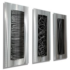 White & Silver Contemporary Metal Wall Sculpture - Reflective Abstract Wall Art - Large Metallic Hanging Decor - Arctic Wave by Jon Allen Wall Art contemporary metal wall art Contemporary Metal Wall Art, Abstract Metal Wall Art, Geometric Wall, Metal Art, Black Abstract, Abstract Art, Metal Wall Sculpture, Modern Sculpture, Wall Sculptures